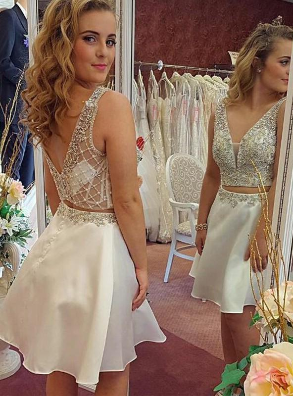 Sleeveless Backless Beading Ivory Two Pieces A Line Satin Sheer V Neck Homecoming Dresses