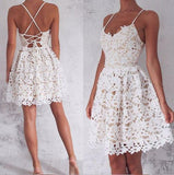Lace Spaghetti Straps V Neck Criss Cross Backless A Line Pleated Short Homecoming Dresses