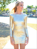 Jewel Sequins Long Sleeve Short Sheath Sparkle Charming Homecoming Dresses