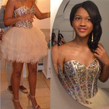 Strapless Sweetheart Ball Gown Organza Rhinestone Ivory Short Homecoming Dresses