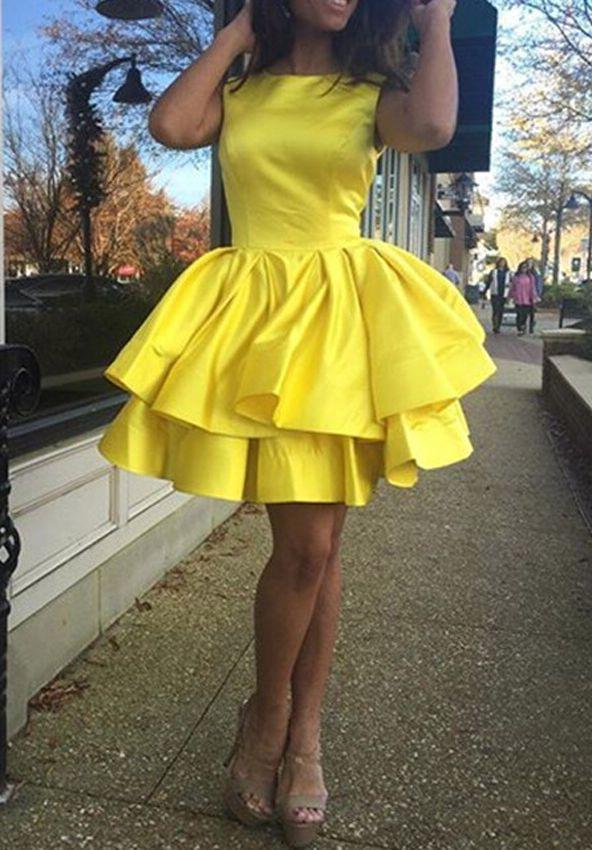 Jewel Sleeveless Short Tiered Pleated Taffeta Daffodil Simple Ball Gown Homecoming Dresses