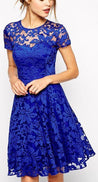 Short Sleeve Jewel Royal Blue Lace Flowers A Line Pleated Sheer Homecoming Dresses