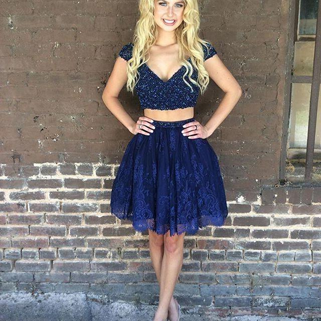 Cap Sleeve Deep V Neck Two Pieces Dark Navy Beading Lace A Line Homecoming Dresses