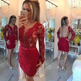 Long Sleeve Lace Scoop Sheath Burgundy Sheer Back Beading Short Homecoming Dresses