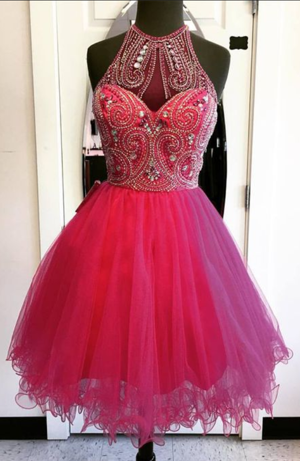 Sleeveless Fuchsia Halter A Line Organza Beading Pleated Rhinestone Homecoming Dresses