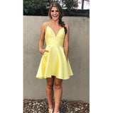 Spaghetti Straps V Neck A Line Satin Pleated Light Yellow Simple Homecoming Dresses