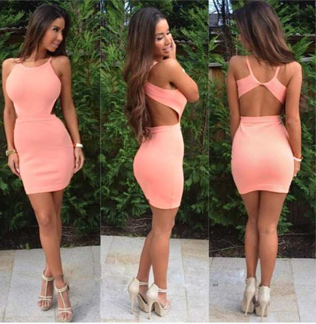 Halter Simple Cut Out Sleeveless Sheath Sexy Short Satin Homecoming Dresses