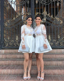 See Through Long Sleeve Bateau Lace Appliques A Line Ivory Short Homecoming Dresses