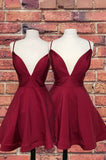 Deep V Neck Spaghetti Straps A Line Burgundy Satin Short Sexy Homecoming Dresses