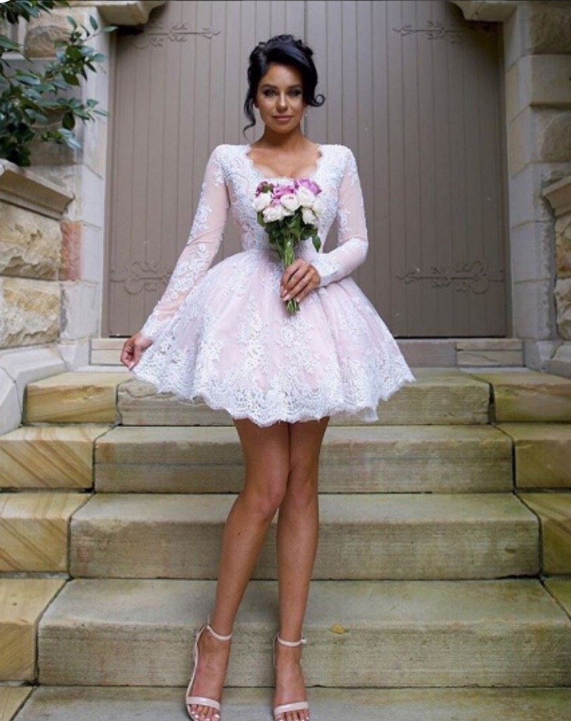 Long Sleeve Deep V Neck Lace Ball Gown White Short Elegant Homecoming Dresses