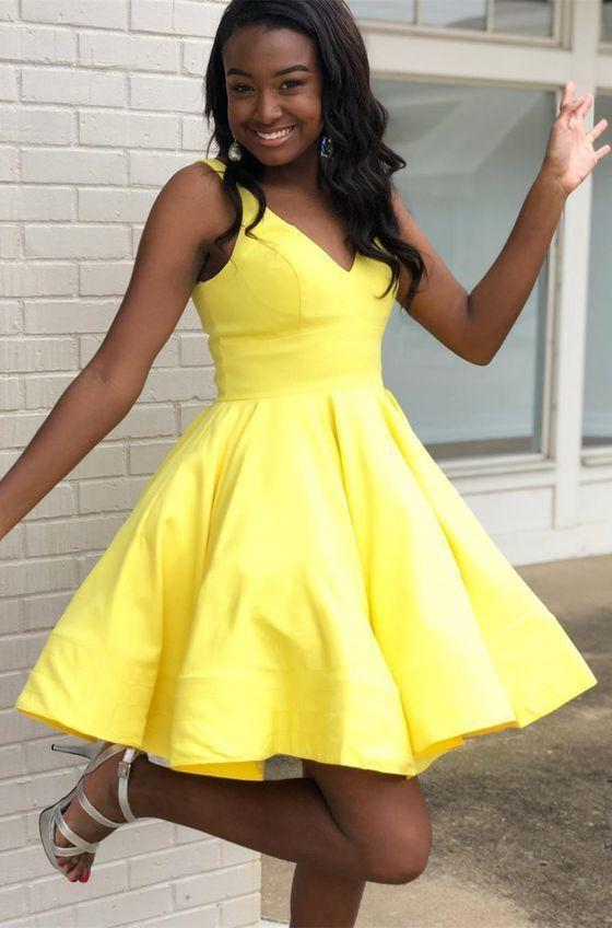 Deep V neck Daffodil Sleeveless Short A Line Pleated Taffeta Homecoming Dresses