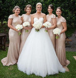 2020 Sheath Champagne Sequence Capped Sleeves Bridesmaid Dresses