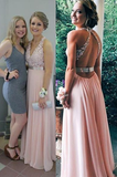 Appliques Straps Chiffon A line Halter 2020 Glamorous Pink Prom Dresses
