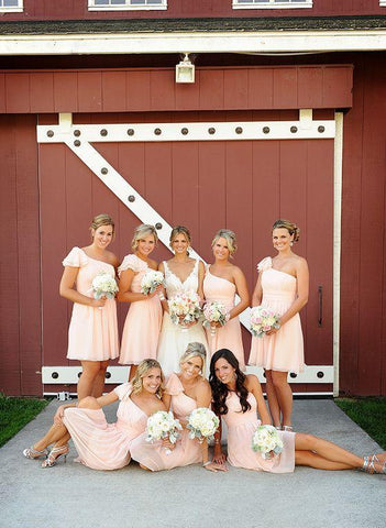 2020 Cheap A Line One Shoulder Pink Short Bridesmaid Dresses / Gowns