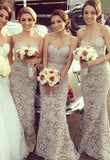 Simple Champagne Lace Strapless Ribbon Long Bridesmaid Dresses / Gowns
