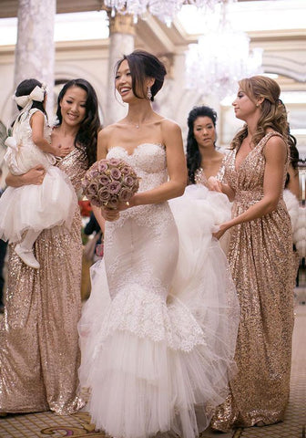 Champagne Column Sequins V Neck Column Floor Length Bridesmaid Dresses / Gowns