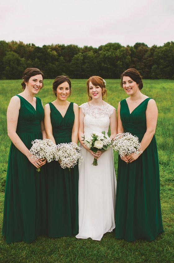 2020 New Arrival A Line Chiffon Dark Green Long V Neck Cheap Bridesmaid Dresses / Gowns