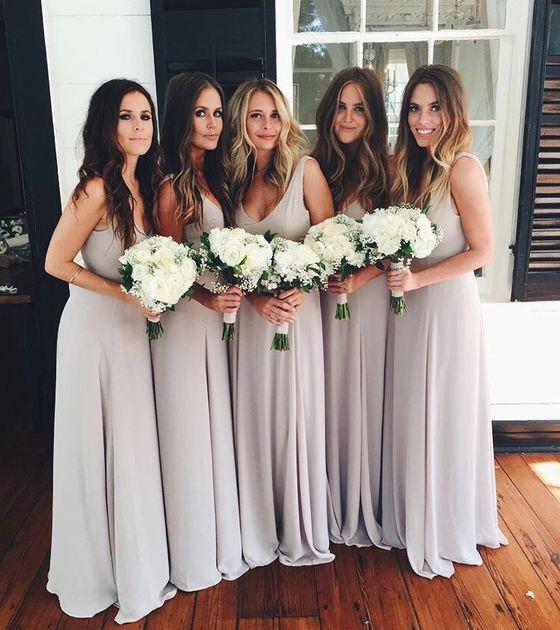 2021 New Arrival A Line Chiffon Silver Floor Length Cheap Long Bridesmaid Dresses / Gowns