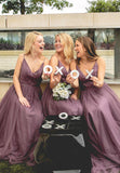 2020 New Arrival A Line Tulle Deep V Light Purple Long Bridesmaid Dresses / Gowns With Straps