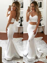 2020 Sexy Mermaid/Trumpet White Sweetheart Two Pieces Prom Dresses