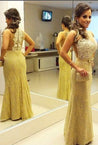 Gold Column/Sheath Lace Prom Dresses With Pearls