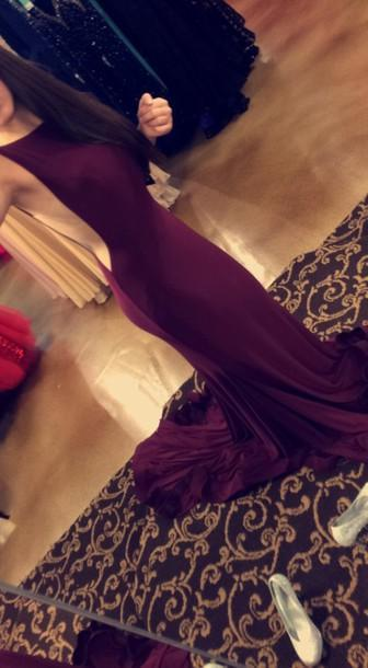 2020 Sexy Grape Mermaid/Trumpet Elastic Satin Backless Prom Drses