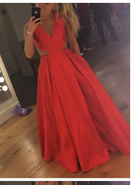 2020 Cheap Princess/A-Line Satin Coral Prom Dresses