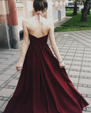 2020 Cheap Princess/A-Line Halter Burgundy Backless Prom Dresses