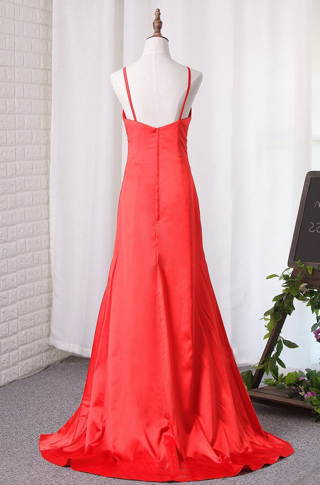 Red Sheath Satin Side Slit Sweetheart Prom Dresses