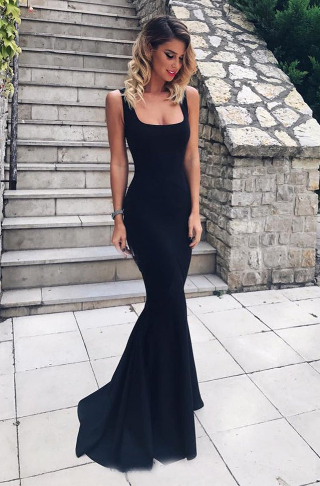 Mermaid Black Satin Square Prom Dresses