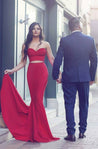 2020 Sexy Mermaid Red Two Pieces Prom Dresses