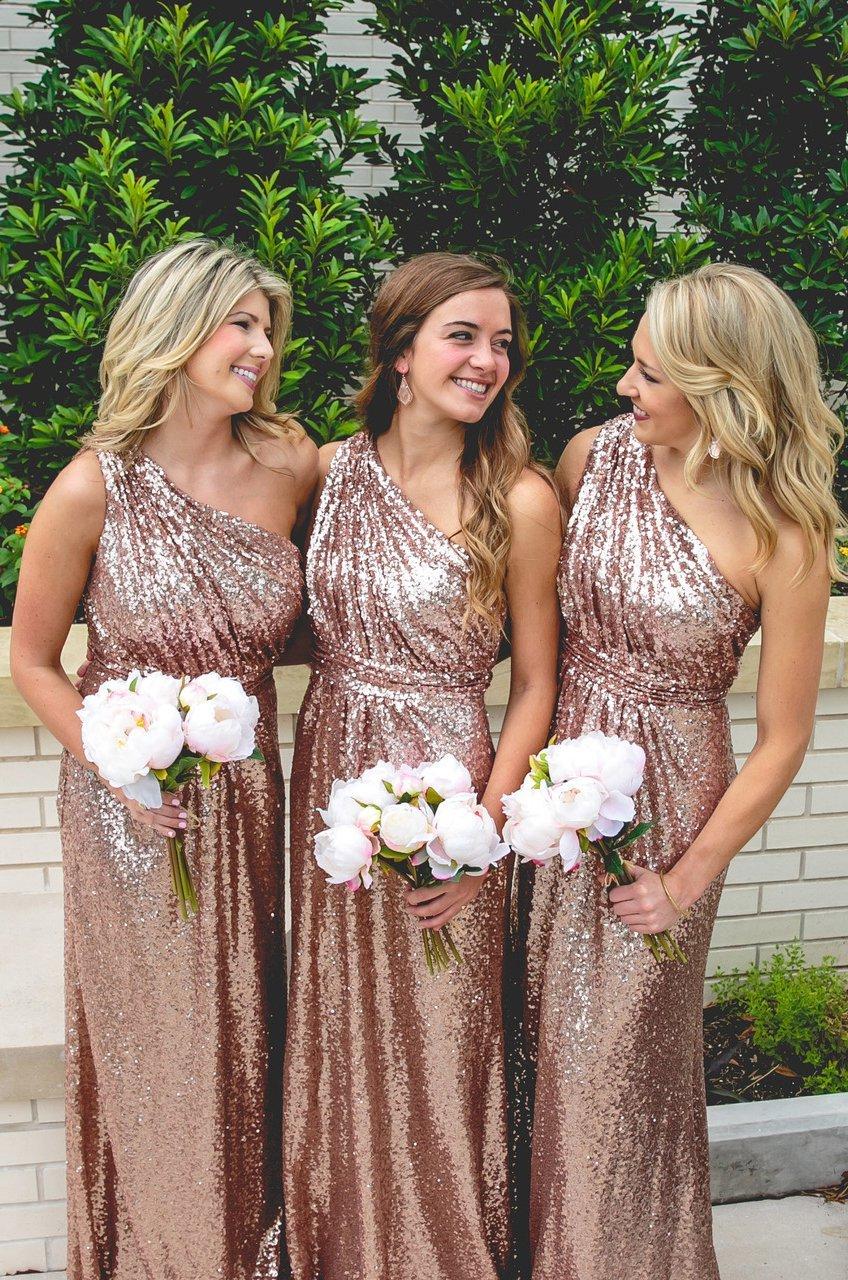 2020 One Shoulder A Line Sequence Bridesmaid Dresses