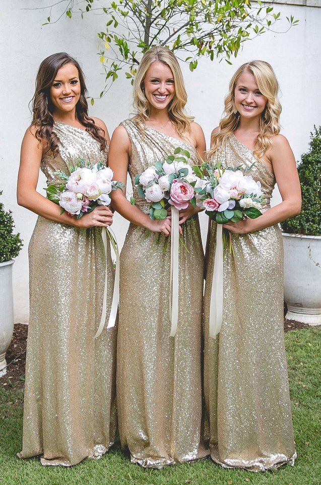 One Shoulder Sequence 2021 Long Bridesmaid Dresses