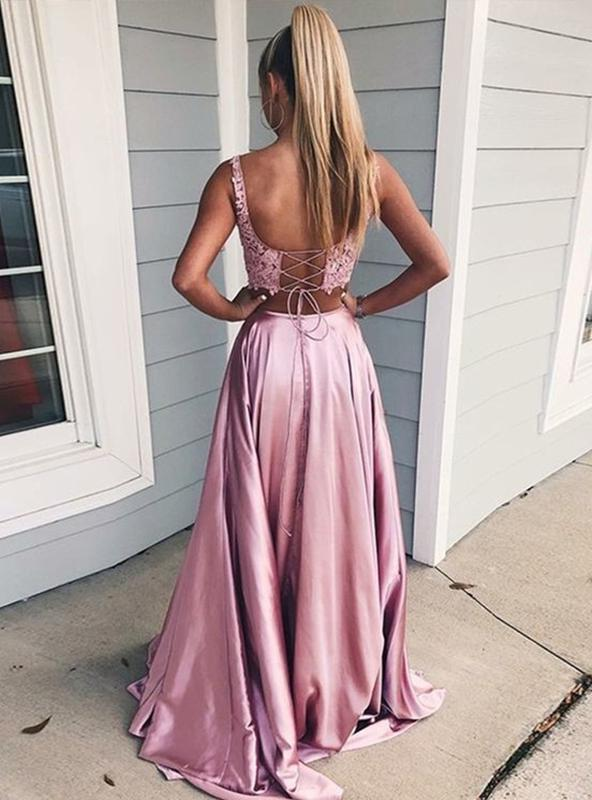 2020 Illusion Dusty Rose Two Piece Lace Satin A-line Prom Dresses