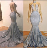 2020 High Neck Silver Backless Sexy Mermaid Prom Dresses
