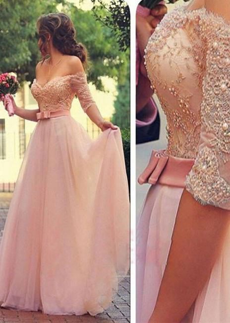 Half Sleeves Off-the-Shoulder Beading A-Line/Princess Tulle Prom Dresses