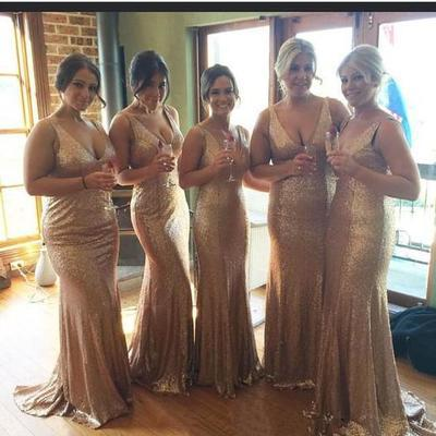 Charming Sequence V Neck Sweep Train Sheath Bridesmaid Dresses