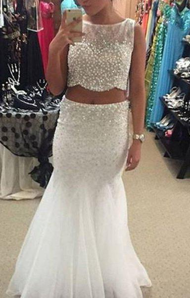 2020 Unique White Mermaid/Trumpet Beading Two Pieces Tulle Prom Dresses