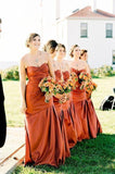 2020 Cheap Tight Satin Orange Sweetheart Ruffles Long Bridesmaid Dresses / Gowns