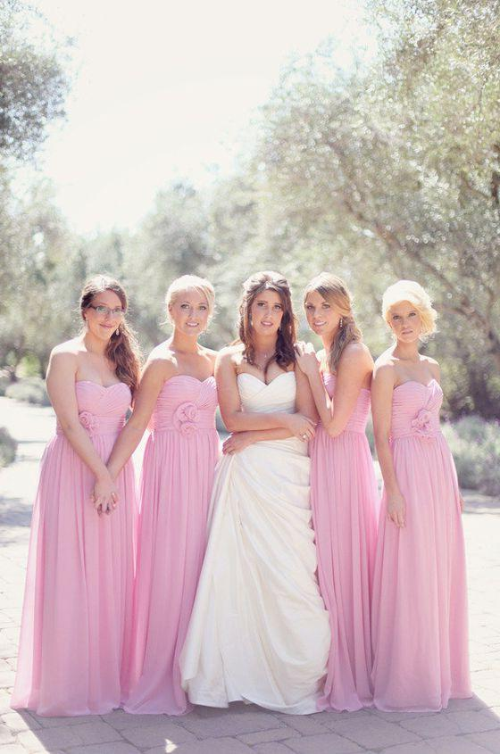 2020 Cheap A Line Chiffon Pink Strapless Ruffles With Flower Long Bridesmaid Dresses / Gowns