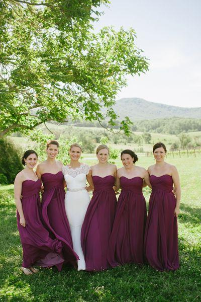 2020 Cheap A Line Burgundy Chiffon Long Ruffles Strapless Bridesmaid Dresses / Gowns