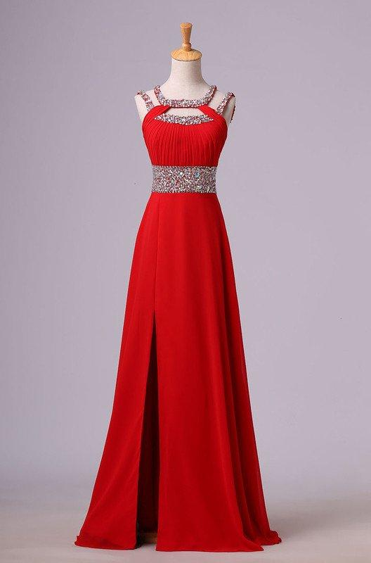 2020 Gorgeous Red Beading Open Back Chiffon Prom Dresses