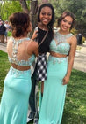 Beading Jewel Neck Satin Two Pieces Sage Green Prom Dresses