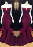 Burgundy Prom Dresses Mermaid/Trumpet Notched Neck Satin