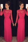 2020 Gorgeous Red Prom Dresses Column/Sheath Long Sleeve Chiffon