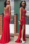 2021 Gorgeous Red Beading Sweetheart High-Slit Two Pieces Prom Dresses