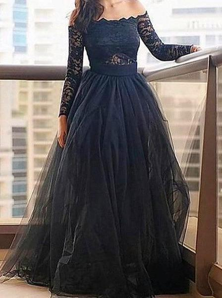 LadyPromDress 2020 Blue Floor-Length/Long A-Line/Princess Lace Long Sleeve Off-the-Shoulder Tulle Prom Dresses