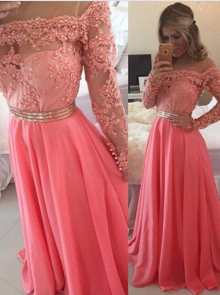 A-Line/Princess Off-the-Shoulder Pearl Detailing Chiffon 2020 Glamorous Pink Prom Dresses