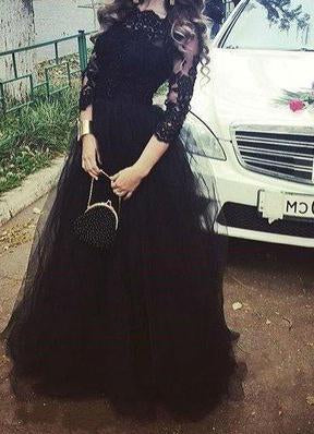2020 Junoesque Black Illusion 3/4 Sleeves Ball Gown Tulle Prom Dresses
