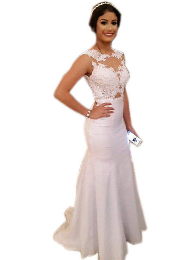 Mermaid/Trumpet Sleeveless Natural Prom Sweep/Brush Train 2020 Unique White Prom Dresses